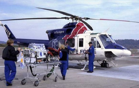 Medivac helicopters preparing to airlift Charleston Southern Football players to Shands Hospital in Gainesville, FL