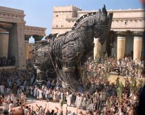Seen above is Trojan Horse that Efron and cast of High School Musical will be brought onto Florida Field for halftime show and Troy sacrifice.